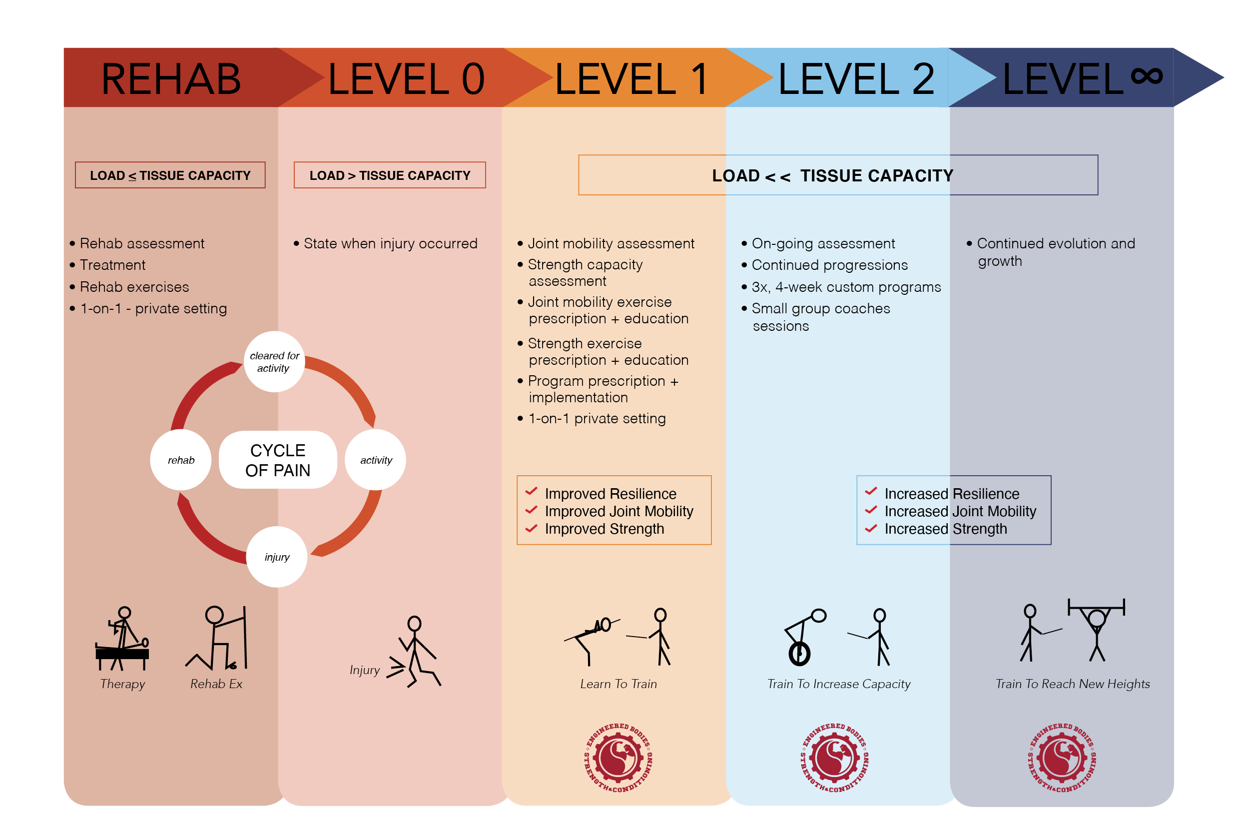 A diagram explaining the details of the injury, rehab, and training continuum